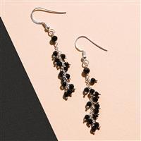 925 Sterling Silver Waterfall Earrings Kit With Black Onyx Rondelles (1pair)