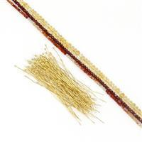Firey Rainbow Kit; 2mm Garnet, Carnelian, Citrine with Headpins