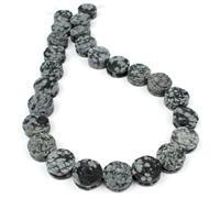 330cts Snowflake Obsidian Carved Flowers Approx 16mm, 38cm Strand