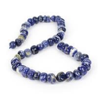 300cts Sodalite Centre Drilled Small Tumbled Stones Approx 9x10-10x13mm, 38cm strand