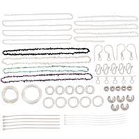 Silver Plated Bumper Findings Kit Approx. 1100pcs Inc. 1200cts Multi Gemstones Chips (Inc. Black Spinel, White Opal, Apatite, Amethyst)