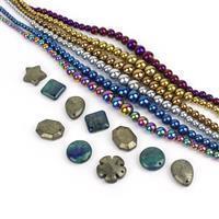 Metallic Marvel; 6x Multi Haematite Graduated Approx 4-10mm, Pyrite & Lapis Pendants