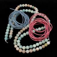 Gemstone & Leather Bracelet Kit; Beryl, Amazonite, Blue & Pink Leather Cord