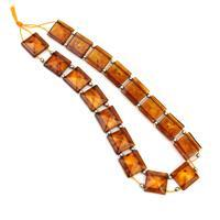 Baltic Cognac Amber Square Bead 10mm Strand 20cm, Sterling Silver Spacer Beads