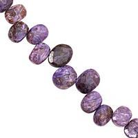 85cts Charoite Top Side Drill Graduated Faceted Oval Approx 9x7 to 14x10mm, 16cm Strand