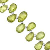 50cts Peridot Top Side Drill Faceted Pear Approx 7x5 to 10x6mm, 21cm Strand with Spacers