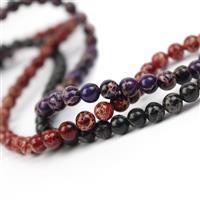 Terra Jasper 6mm! Inc; Black, Purple & Red Jasper Rounds. 6mm