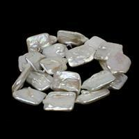 White Freshwater Cultured Square Pearls Approx 15x20mm, 38cm strand