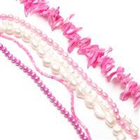 6 x 38cm Strands Mixed Freshwater & Shell Pearl - Party Pink