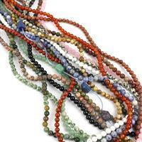 Mega Mala Kit; Assorted Gemstones Plain Rounds Approx 16x6mm & Buddha Head Strand