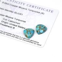 9cts Copper Mojave Turquoise 12x12mm Triangle Pack of 2 (R)
