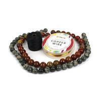 Fortitude; Rainbow Mud Jasper 10mm, Chinese Multi-Colour Agate 12mm, Nylon Cord, Wire