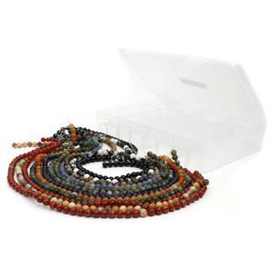 12 x 38cm Strands of 6mm Round Beads in a Plastic Storage Box