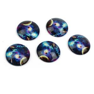 Celestial Glass Cabochons, Approx 25mm (5pcs/pack)