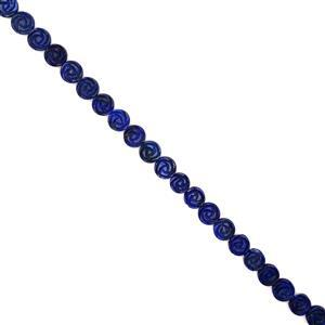 415cts Lapis Lazuli Carved Flowers Approx 16mm, 38cm Strand