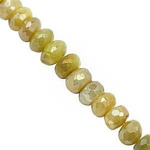 82cts Yellow Moonstone Graduated Faceted Rondelle Approx 5x2 to 9x5mm, 22cm Strand