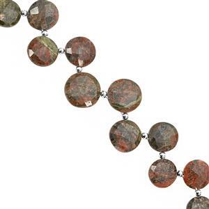 115cts Unakite Corner Drill Faceted Coin Approx 9 to 15mm, 24cm Strand with Spacers