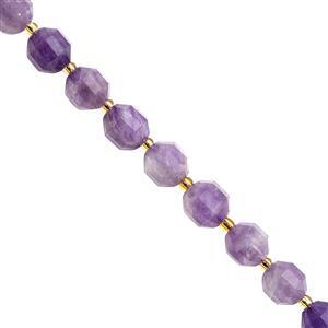 100cts Amethyst Faceted Lantern Approx 10x8.5mm, 20cm Strand with Spacers