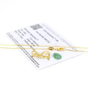 1.4cts Aquaprase Pear Pendant, Inc; Gold Pate Mount & Chain.