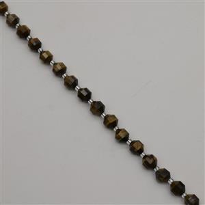110cts Tiger Eye Faceted Satellite Beads Approx 8x7mm, 38cm