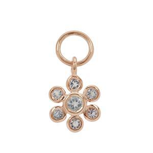 Rose Gold Plated 925 Sterling Silver Flower Charm With 0.38cts Aquamarine Approx 2 to 3mm (1pcs)