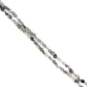 """360cts Black Rutile Small Nuggets Approx 5x8mm, 60"""" Endless Necklace"""