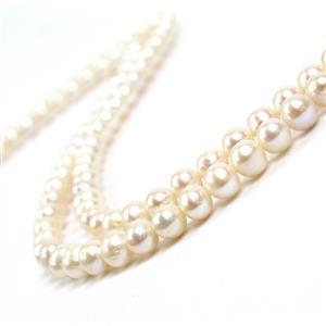 White Freshwater Cultured Pearls Approx 7-8mm 2 x 38cm Strands
