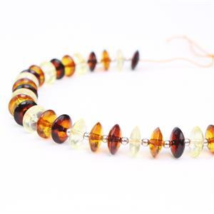 Baltic Multi-Colour Amber Saucers Approx 8mm Inc Sterling Silver Beads , 20cm strand