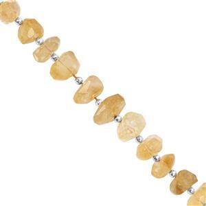 100cts Citrine Graduated Faceted Unusual Tumble Approx 9x4.5 to 14x7.5mm, 14cm Strand with Spacers