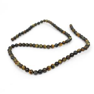 40cts A Grade Blue & Yellow Tiger Eye Plain Rounds Approx 4mm, 38cm