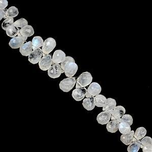 100cts Rainbow Moonstone Top Side Drill Graduated Faceted Drops Approx 5x3.5mm to 11.5x6.5mm, 19cm Strand