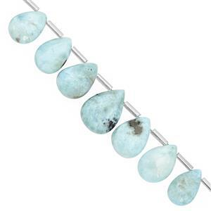 76cts Larimar Top Side Drill Graduated Smooth Pear Approx 10x6 to 18.5x12.5mm, 16cm Strand with Spacers