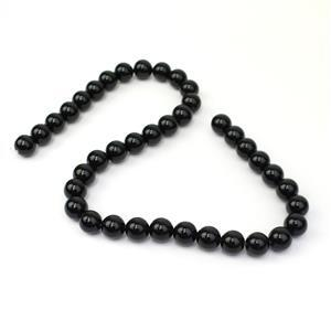 245cts Black Obsidian Plain Rounds Approx 10mm, 38cm Strand