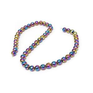 310cts Rainbow Coated Haematite Faceted Rounds Approx 8mm, 38cm