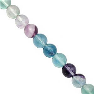 115cts Multi-Colour Fluorite Smooth Round Approx 8 to 8.50mm, 20cm Strand