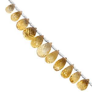 45cts Rio Grande Citrine Top Side Drill Graduated Faceted Drops Approx 7x5 to 11.5x8mm, 15cm Strand with Spacers