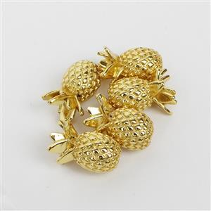 Gold Plated Base Metal Pineapple Spacer Beads, 8mm (5pk)