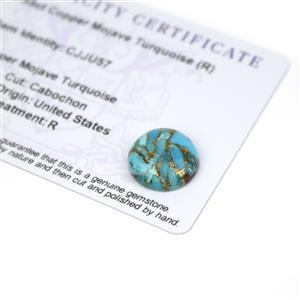 7.55cts Copper Mojave Turquoise 15x15mm Round  (R)
