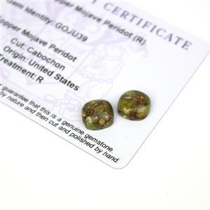 4.5cts Copper Mojave Peridot 10x10mm Cushion Pack of 2 (R)