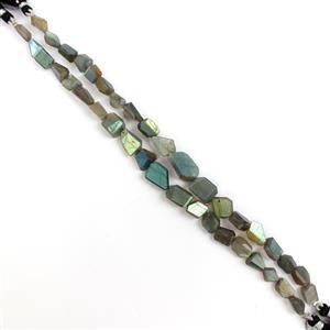 Last Of Stock! 2x 70cts Labradorite Graduated Laser-Cut Tumbles Approx 7x6 to 15x8mm, 20cm