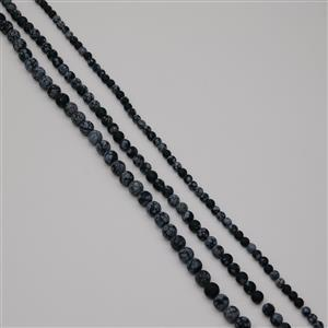 515cts Snowflake Obsidian Frosted Rounds 6mm to10mm, 38cm Strands (Set Of 3)