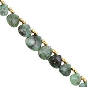35cts Emerald Top Side Drill Graduated Faceted Heart Approx 6 to 11mm, 15cm Strand with Spacers