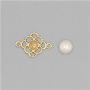 9k Gold Pearl Connector Mount Fits 6mm Round Inc. Freshwater Cultured Pearl Round Cabochon 6mm Round