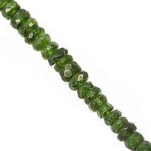 18cts Chrome Diopside Faceted Rondelle Approx 3x1.5 to 4.5x2mm, 15cm Strand