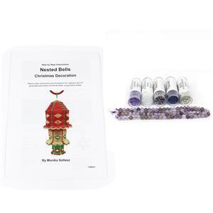 Sugarplum; White, Purple, Montana, Amethyst, Silver Delicas with Dog Tooth Amethyst