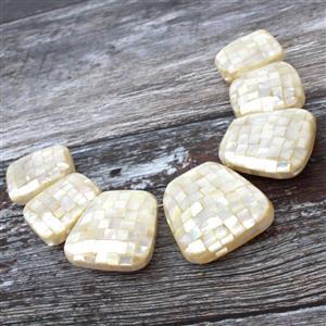 White Mosaic Abalone Graduated Trapezoids Approx 25x30-36x40mm,  7pcs/pk