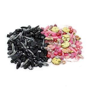 Beads! Inc; Preciosa Ornela Trade Mark Bead Mix, Pink & Black.