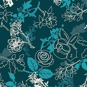 Teal Blue Autumn Leaves Fabric 0.5m