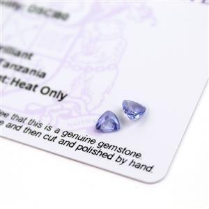 0.75cts  Tanzanite 5x5mm Triangle Pack of 2 (H)