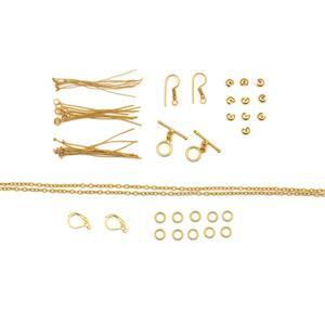 Gold Plated Base Metal Essential Findings Pack Inc. Toggle Locks & Lever Back Earrings (77pcs)